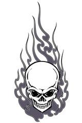 スカルと火炎のイラスト,