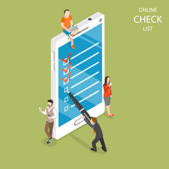 Online checklist flat isometric vector concept. A man with a pen is setting a check mark on the mobile phone screen.