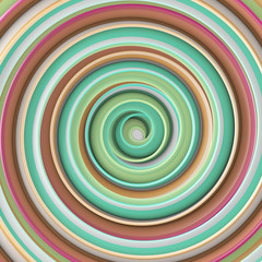 Multicolor gradient twisted spiral hypnotic shape abstract 3D render