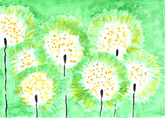 A green background with abstract dandelions painted with watercolor paints.
