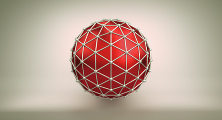 Red sphere and polygonal wireframe 3D illustration