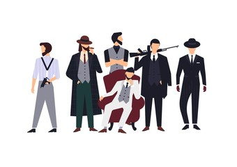 Group of mafia members or mafiosi dressed in elegant retro clothes or formal suits and holding fire guns. Flat male cartoon characters isolated on white background. Colorful vector illustration.