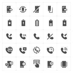 Icon set - phone and calling solid icon style vector illustration on white background