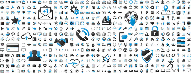 Wall Mural - Black and blue web business technology icons set