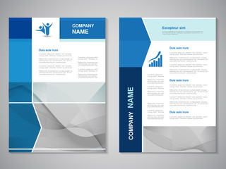 Vector brochure, abstract design, flyer with wave design. Layout line template. Aspect Ratio for A4 size. Poster of blue, grey and white color. Magazine cover.