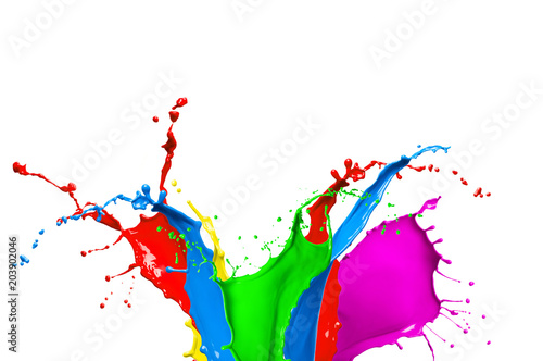 Colorful Paint Splash Isolated On White Background Abstract Colored