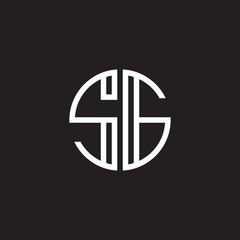 Initial letter SG, minimalist line art monogram circle shape logo, white color on black background