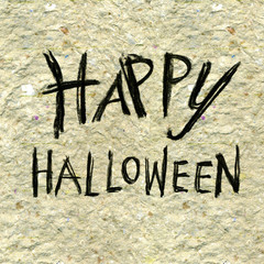Happy Halloween drawing text handmade paper