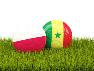 Poland vs Senegal. Soccer concept. Footballs with flags on green grass