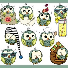 Cute owl set digital elements