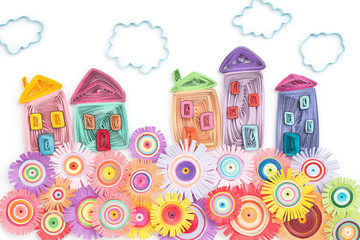 Quilling houses flowers and clouds
