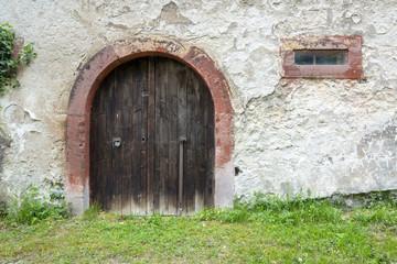 old wooden door gate