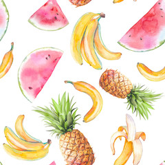 Watercolor exotic fruit seamless pattern. Hand drawn texture with bananas, pineapple and watermelon on white background. Summer wallpaper design