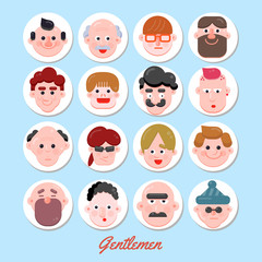 People Vector Illustration, Vector Flat Character Faces, Cute Avatar Collection, Flat Design, Various Age Group Character Concept, Modern Web Icon Set