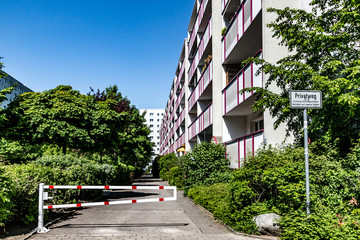 Residential building with trees in Berlin, Marzahn, Berlin