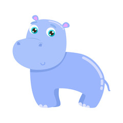 Cute hippo vector illustration. Flat design.
