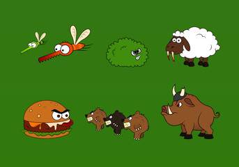 A set of different medieval fantasy monsters and animals in cartoon style