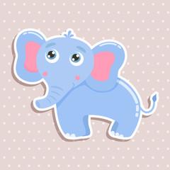 Cute elephant sticker vector illustration. Flat design.