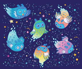 Cute vector ghost owls set in the night. Children cartoon style.