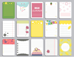 Kids notebook page template vector cards, notes, stickers, labels, tags paper sheet illustration.
