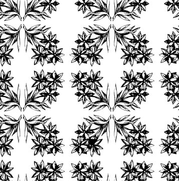 Seamless decoarive pattern with a flwers in a black - white colors