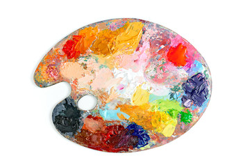 Colorful palette oil painting isolated on  white background