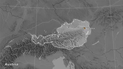 Austria, grayscale elevation - composition