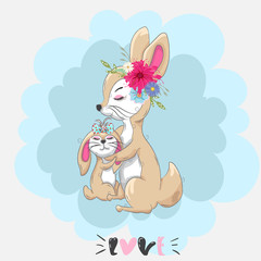 Cute little rabbit and Mama cartoon hand drawn vector illustration. Can be used for baby t-shirt print, fashion print design, kids wear.