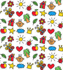 Childlike drawings colorful cute seamless vector pattern