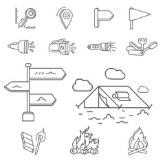 Camping elements outline icons set. linear style symbols collection, line signs pack. vector illustration