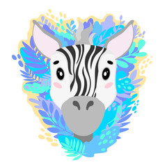 Vector cute zebra face in the jungle. For print on a T-shirt, a picture in the nursery.