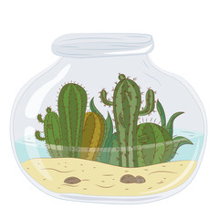 Cactus in a glass jar with water. Vector graphics.