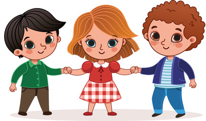 Vector illustration of three children holding hands.