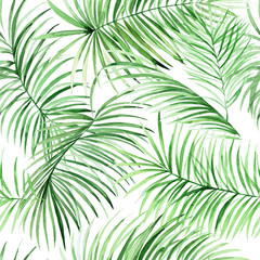 Watercolor palm leaves pattern.