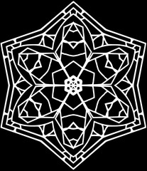Decorative contour six-pointed mandala in a black and white colors