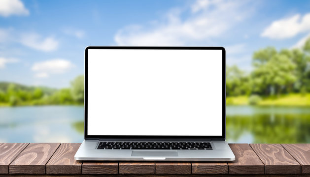 Modern laptop with empty white screen