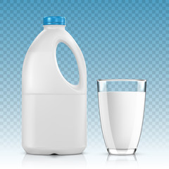 Milk Bottle with Glass on Transparent background