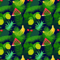 Tropical fruit seamless pattern with jungle leaves floral dark color background.  Watermelon slice, pineapple, lemon, banana and cherry pattern with palm leaf..