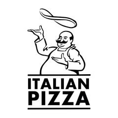 Italian pizza chef. Retro vector illustration on white background.