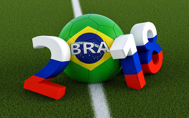 2018 in russian flag colors on a soccer field. A soccer ball in Brazils national colors representing the 0 in 2018. 3D Rendering