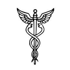 Caduceus medical symbol in black and white. Vector illustration.
