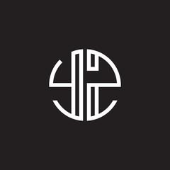 Initial letter YZ, minimalist line art monogram circle shape logo, white color on black background