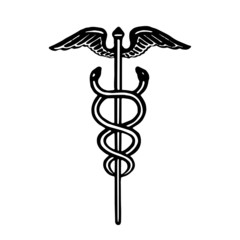 Caduceus medical symbol in black and white. Vector illustration.