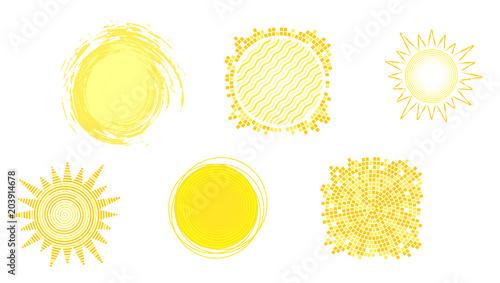 Set Of Yellow Hot Icons Of Sun Isolated On White Background Symbols