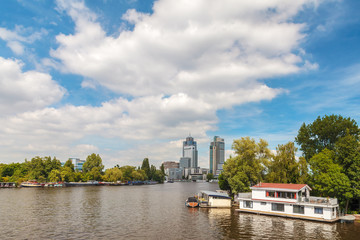 The river Amstel and offices of the Amsterdam Amstel city area