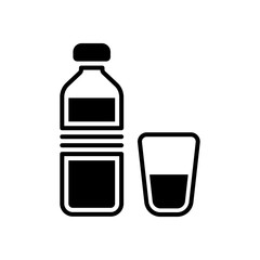 bottle of water and glass cup. simple icon