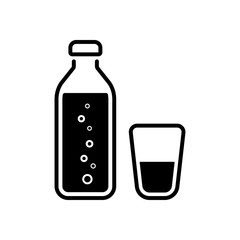 bottle of water with bubbles and glass cup. simple icon
