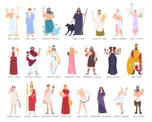 Collection of Olympic gods and goddesses from Greek and Roman mythology, mythological creatures. Male and female cartoon characters isolated on white background. Flat colorful vector illustration.