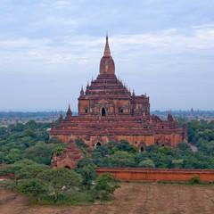 Aerial view of ancient Sulamani temple in Bagan, Mandalay Division, Myanmar