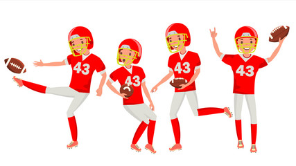American Football Male Player Vector. Match Tournament. Summer Activity. Playing In Different Poses. Man Athlete. Isolated On White Cartoon Character Illustration